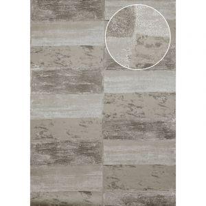 Atlas Papier peint aspect pierre carrelage ICO-2705-2 papier peint intissé lisse avec un dessin nature satiné gris gris-pierre gris quartz 7,035 m2