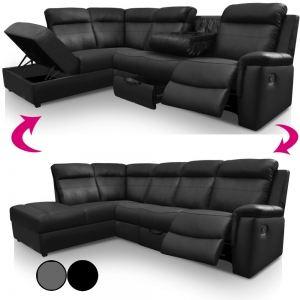Canapé d'angle Droit Ringwood 3 places avec relax rangements et porte-gobelets en simili cuir