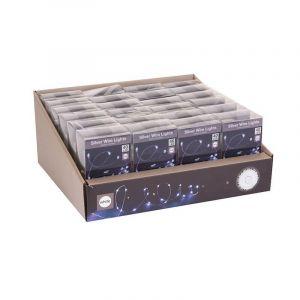 Guirlande l ineuse fil de cuivre 40 LED à piles Blanc froid 2 10 m