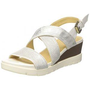 Geox D D Marykarmen Plus B, Sandales Plateforme Femme, Blanc