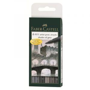 Faber-Castell 167104 - Etui de 6 feutres Pitt Artist Pen, pointe pinceau, encres nuances de gris