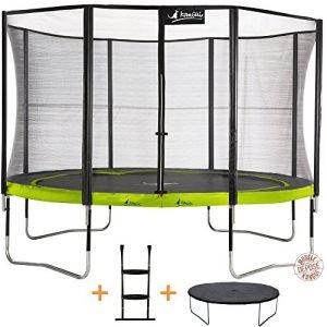 Kangui Pack trampoline diamètre 360 cm + échelle + couverture - Trampoline de jardin certifié CE
