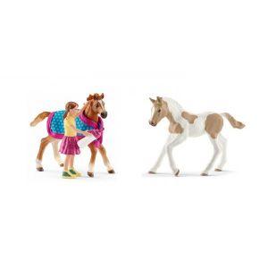 Schleich Figurines de chevaux poulain (poulain avec couverture, paint horse)