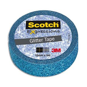 Scotch Ruban masking tape Expression - 15 mm x 5 m - pailleté bleu