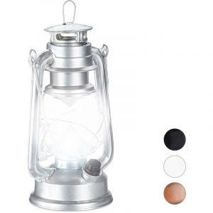 Relaxdays Lanterne tempête LED, Retro comme décoration de fenêtre ou Lampe Jardin, à Piles, Argentée