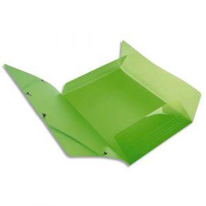 Exacompta Chemise 3 rabats et élastique IDERAMA en polypropylène 5/10e. Coloris vert