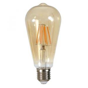 Ampoule LED filament Edison E27 6 W équivalent a 60 W blanc chaud - Culot E27 - Puissance : 6 W - Equivalence : 60 W - Flux lumineux : 540 lumens - Température : 2000°K.