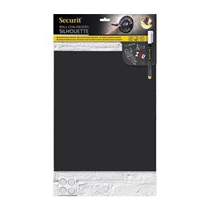 Securit Ardoise murale Silhouette - en forme rectangle - double-face - accessoires - L29,8 x H34,7 cm - noire