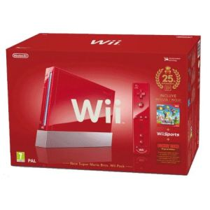 Nintendo Pack Wii Edition Limitée 25ème Anniversaire Mario Rouge : console + télécommande Wii Plus + Wii Sports + New Super Mario Bros. Wii