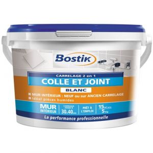 Bostik Colle et joint carrelage - blanc - 5 Kg