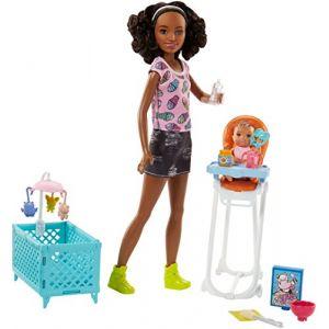 Mattel Poupée Barbie - Coffret Baby-Sitter Chaise Haute
