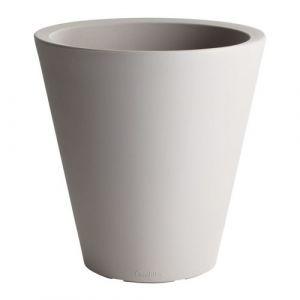 Grosfillex Pot de fleur rond en polypropylène double paroi diamètre 50cm 39L VENICE Taupe