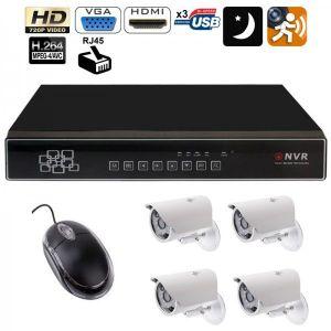 Yonis Y-kvs25 - Kit vidéosurveillance enregistreur 4 caméras IP IR 720p 420 TVL