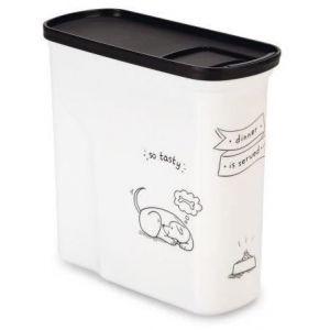 Image de Curver Conteneur de nourriture Le Diner est servi - 1 kg - 2 L - Blanc et noir - Pour chien