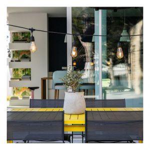 Lumisky MAFY Vintage Guirlande décorative d'extérieur avec 10 Douilles Cuivre E27 Noir 7 m