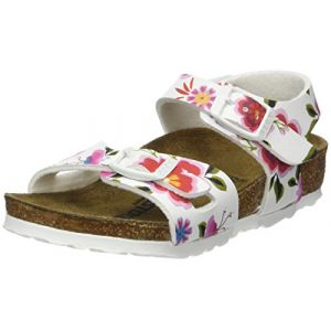 Birkenstock Rio, Sandales Bride Arriere Filles, Blanc (China Flowers White China Flowers White), 33 EU