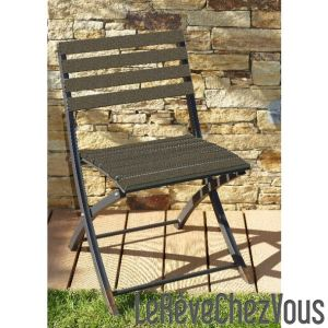 DCB Garden Chaise de jardin pliante en aluminium et composite