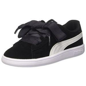 Puma Smash V2 Ribbon AC Inf, Sneakers Basses mixte bébé, Noir Black White, 26 EU