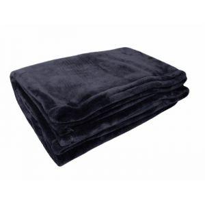 Plaid polaire MICRODOUX 130x150cm 100% Polyester Noir
