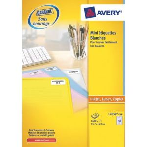 Avery-Zweckform 6400 mini étiquettes laser blanches 16,9 x 45,7 mm