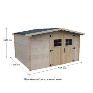 Foresta Vidra VD 3330.02 N - Abri de jardin en bois 28 mm 8,70 m2 (montage inclus)