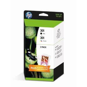 HP J3M81AE - Multipack Cartouches d'encre noir et 3 couleurs n°301 (CH561EE, CH562EE)