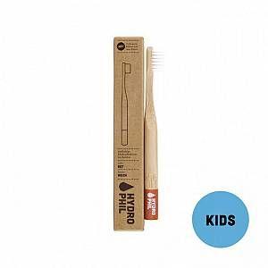 Hydrophil Hydrophyl Brosse à dents enfant en bambou, rouge, poils nylon doux