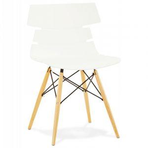 Kokoon Design Chaise scandinave avec pieds en hêtre STRATA (BLANC)