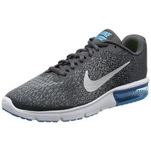 Nike Air Max Sequent 2, Chaussures de Running Homme, Gris (Grisfoncé/Noir/Discret/Argentmétallique), 44.5 EU