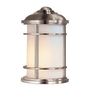 Feiss Applique extérieure Lighthouse, demi-ronde, acier brossé