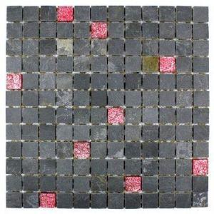 Allure - Carrelage mosaïque douche en verre et pierre ardoise (30 x 30 cm)