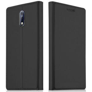Akashi Etui Folio Porte Carte Noir Nokia 7.1