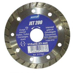 Norton clipper Disque diamant - Jet 200 - jante contenue crénelée - D: 115 mm - Disque pour meuleuse