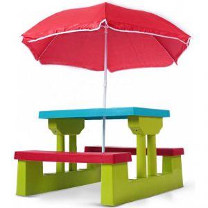 Table et bancs avec parasol pour enfant