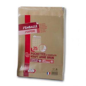 Gpv 39727 - Sac à soufflet Pack'n Post 260x330x30, 130 g/m², coloris brun - paquet de 25