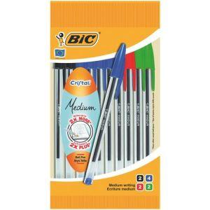 Bic 10 stylos bille Cristal assortis pointe moyenne
