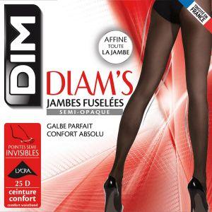 DIM Collant Femme Noir Diam's Jambes Fuselées T2 25d - Le Collant