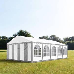 Intent24 5x10m tente de réception, PVC env. 550g/m², H. 2m, gris-blanc