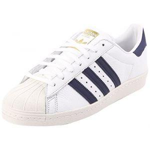 Adidas Superstar 80s, Chaussures de sport homme - différents coloris - Blanc(Running )/Bleu(Trace)/Gris,41 1/3