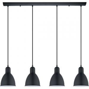 Eglo Priddy 97.5cm - Suspension barre 4 lumières métal noir