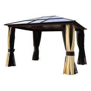 Outsunny Pavillon de Jardin tonnelle Rigide dim. 3,6L x 3l x 2,65H m 4 parois latérales Anti-UV Beige 4 moustiquaires zippées éclairage LED Solaire alu Polycarbonate Noir Marron