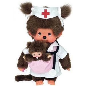 Bandai Peluche Monchhichi fille sage-femme avec un bébé 20 cm