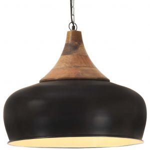 VidaXL Lampe suspendue industrielle Noir Fer et bois solide 45 cm E27