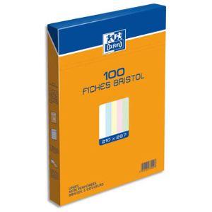 Oxford Boîte de 100 fiches bristol  Uni non perforée (210 x 297 mm)