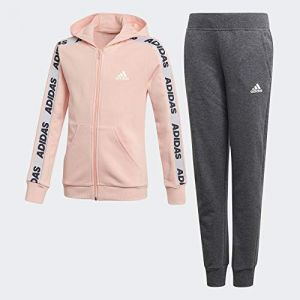 Adidas YG Hood COT TS Survêtement Fille, Glow Pink Medium Grey Heather/White, FR : XL