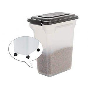 Iris Ohyama Boîte À Croquettes / Boîte Alimentaire Hermétique - Air Tight Food Container - Ats-M, Plastique, Noir/Transparent, 20 L, 24,8 X 36,3 X 44 Cm