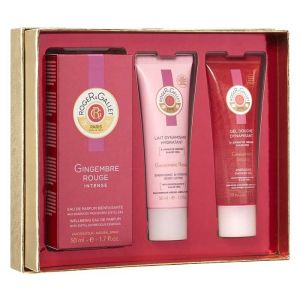 Roger & Gallet Gingembre Rouge - Coffret eau fraîche parfumée, gel douche dynamisant et lait dynamisant hydratant