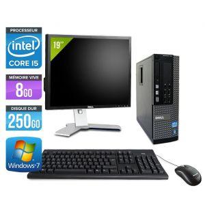 Dell Optiplex 7010 SFF + Ecran 19'' - Intel Core i5-3470 / 3.20 GHz - RAM 4 Go - HDD 250 Go - DVDRW - GigaBit Ethernet - Windows 10 Professionnel