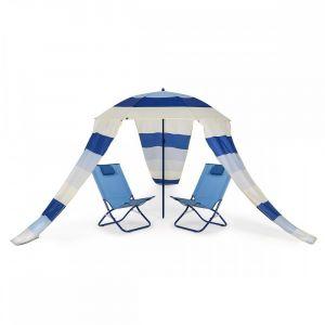 Homekraft MAUI Extra 2 transats chaises pliables parasol jardin plage Bleu