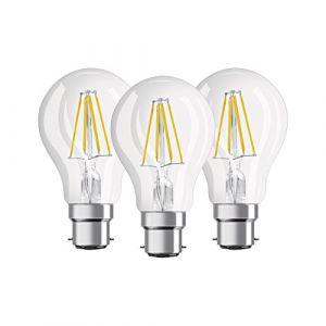 Osram Lot de 3 Ampoules LED B22 standard claire 7 W équivalent a 60 W blanc chaud - Culot : E27 - Puissance : 7 W - Equivalence : 60 W - Flux lumineux : 806 Lm.